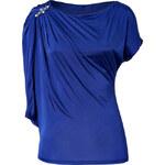 Roberto Cavalli Cobalt Blue Draped Sleeve Top