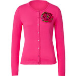 Moschino C&C Hot Pink Cotton Cardigan with Flower Brooch