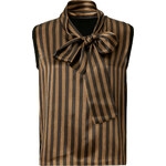 Fendi Wool Striped Bow Top in Black/Tobacco