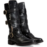 Fiorentini & Baker Leather Buckled Boots in Black with Fur Trim