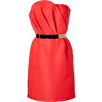 Tara Jarmon Bright Orange Silk Bustier Dress