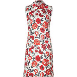 Jil Sander Navy White/Red-Multi Floral Cotton Dress