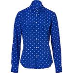 Ralph Lauren Black Label Silk Shirt in Royal Blue/Off White
