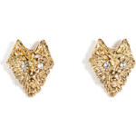 Tom Binns Wolf Stud Earrings with Crystal Eyes in Gold