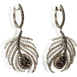Nikos Koulis Black Rhodium/Diamond Paradise Peacock Earrings