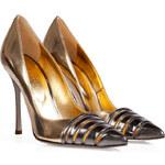 Sergio Rossi Metallic Leather Cutout Toe Stilettos in Gold/Platinum