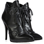 Fendi Metal Embellished Stiletto Ankle Boots in Black/Grey