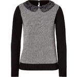 Steffen Schraut Merino Wool Sequined Collar Herringbone Pullover in Black