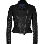 Burberry Brit Quilted Leather Biker Jacket in Black