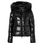 Duvetica Adhara Down Jacket with with Fur Trim in Black