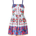 Anna Sui Daisy Chain Print Dress in Cornflower Multi