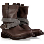 Brunello Cucinelli Leather Embellished Strap Boots