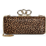 Diane von Furstenberg Haircalf Sutra Clutch in Leopard