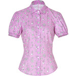 Olympia Le-Tan Cotton Blend Greta Blouse in Pink