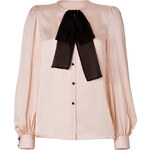 Emilio Pucci Silk Tie Neck Blouse in Nude