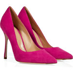 Sergio Rossi Suede Pointed Toe Pumps in Cyclamen