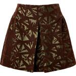 Victoria Beckham Denim Patterned Velvet Mini-Skirt in Olive