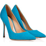 Sergio Rossi Suede Pointed Toe Pumps in Turquoise