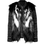 Roberto Cavalli Knit Jacket with Silver Fox Fur in Black/White/Grigio