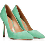 Sergio Rossi Suede Pointed Toe Pumps in Aquamarine
