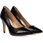Diane von Furstenberg Snakeskin Pumps in Black Shiny