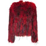 Balmain Rouge/Black Fur Jacket
