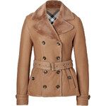Burberry Brit Shearling Chedleigh Jacket in Sesame