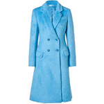 Jonathan Saunders Alpaca-Wool Double-Breasted Coat in Blue