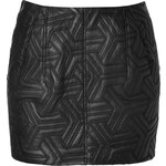 Faith Connexion Quilted Leather Mini Skirt in Black
