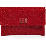 Anya Hindmarch Glitter Fabric Valorie Clutch in Medium Red