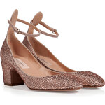 Valentino Leather Embellished Pumps in Powder
