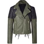 Faith Connexion Leather Jacket Perfecto in Khaki