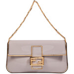 Fendi Marble Patent Leather Baguette Bag with Golden Chain Handle