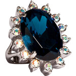 Mawi Silver-Toned Blue Gemstone Daisy Ring