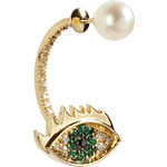 Delfina Delettrez Gold Cartoon Eye and Pearl Earring