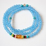 LightInTheBox Maya Fashion Natural Tibetan Blue Agate Stone 108 Beads Charm Stretch Bracelet