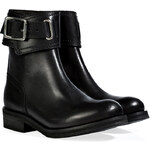 Vanessa Bruno Leather Buckle Cuff Ankle Boots in Black