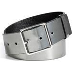 Jil Sander Metallic Leather Belt in Gunmetal