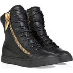 Giuseppe Zanotti Leather High-Top Sneakers in Black
