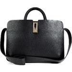 Anya Hindmarch Leather Albion Top Handle in Black/Deep Grey Capra