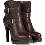 Ash Chocolate Leather Buckled Ankle Boots