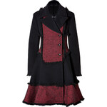 McQ Alexander McQueen Wool Blend Fringed Coat in Red/Black
