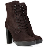 Hogan Suede Lace-Up Ankle Boots in Testa Moro