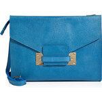 Sophie Hulme Leather Soft Envelope Bag in Stamped Bright Blue