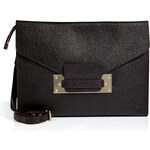 Sophie Hulme Leather Soft Envelope Bag in Stamped Damson