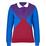 Ostwald Helgason Polo Panel Sweatshirt in Purple/Red/Royal Blue