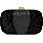 Emilio Pucci Leather/Velvet Quilted Box Clutch in Black