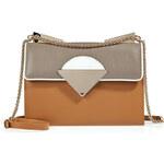 Sara Battaglia Leather Monica Bag in Brown/White