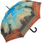 """Doppler Dámský holový vystřelovací deštník ART Monet """"Větrné mlýny"""" 74157P"""