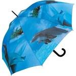 Doppler Dámský holový vystřelovací deštník ART Delfíni 74157W